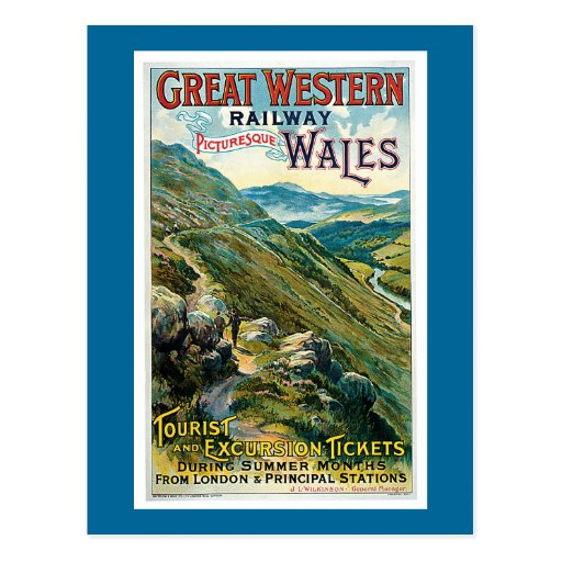 Vintage Great Western Railway Travel Poster Postcards