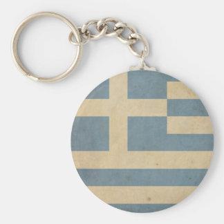Vintage Greece Flag Basic Round Button Key Ring