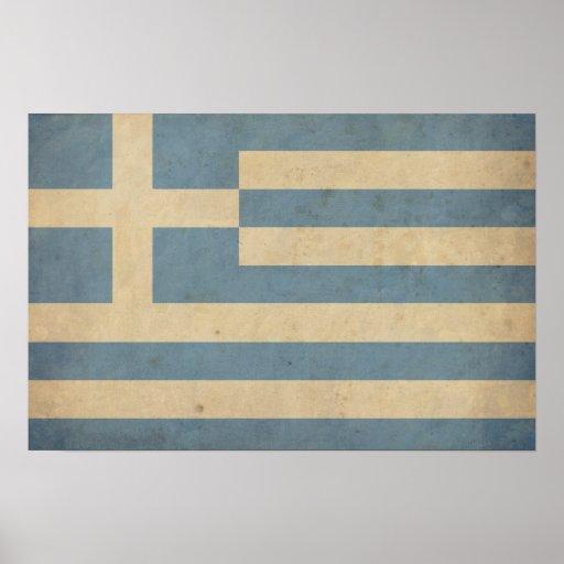 Vintage Greece Flag Poster