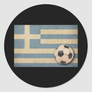 Vintage Greece Football Classic Round Sticker