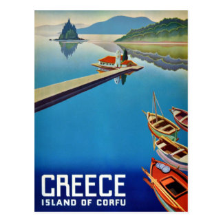 Vintage Greece Isle of Corfu Travel Postcard