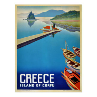 Vintage Greece Travel - Island of Corfu Postcard