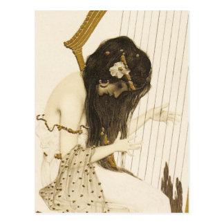Vintage Greek Harpist Postcard