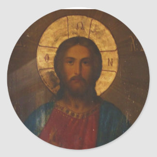 VINTAGE GREEK ORTHODOX ICON CLASSIC ROUND STICKER