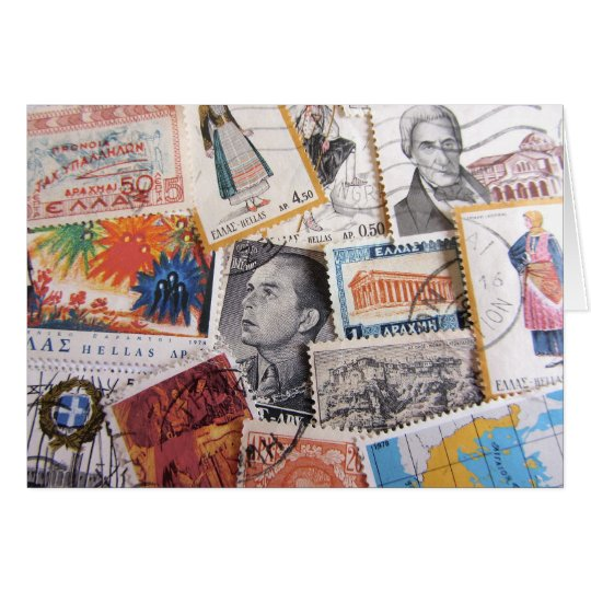 Vintage Greek Stamps Card