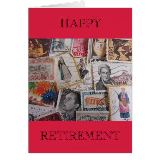 Vintage Greek Stamps Happy Retirement Card