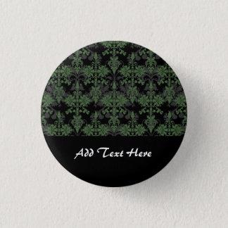 Vintage Green and Black Damask 3 Cm Round Badge