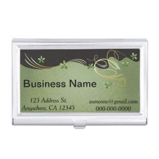 Vintage Green and Black Floral   Personalize Business Card Holder