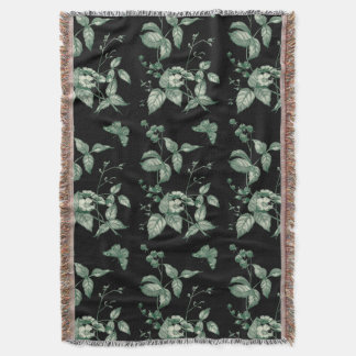 Vintage Green and Black Flowers and Butterfly Throw Blanket
