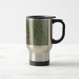 Vintage Green and Purple Flowers Coffee Mug