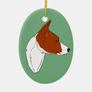 Vintage Green Basenji Ornament