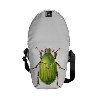 Vintage Green Beetle Illustration Messenger Bag