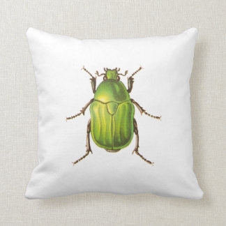 Vintage Green Beetle Illustration Throw Pillow