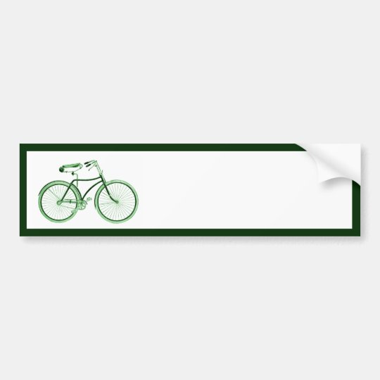 Vintage Green Bicycle Bumper Sticker
