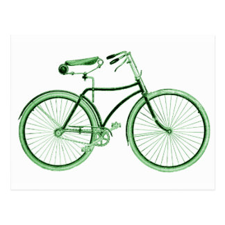 Vintage Green Bicycle Postcard