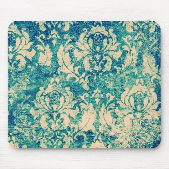 VIntage Green Blue Floral Damask Mouse Mat