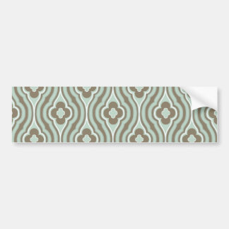 Vintage Green Brown Floral Pattern Bumper Stickers