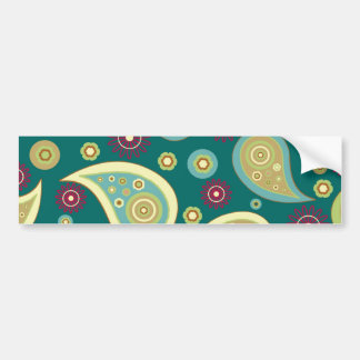 Vintage green brown paisley floral pattern bumper sticker