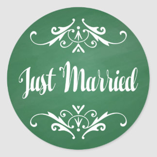 Vintage Green Chalkboard Just Married Wedding Classic Round Sticker