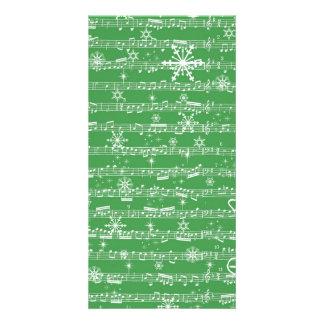 Vintage Green Christmas Musical Sheet Photo Greeting Card