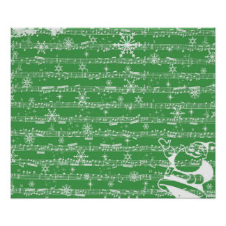 Vintage Green Christmas Musical Sheet Posters