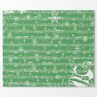Vintage Green Christmas Musical Sheet Wrapping Paper