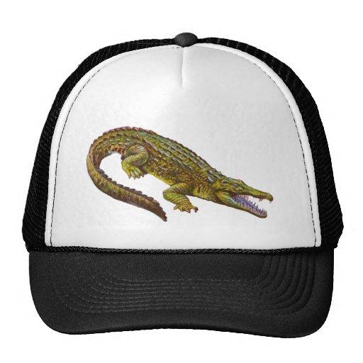 Vintage Green Crocodile Illustration Mesh Hat