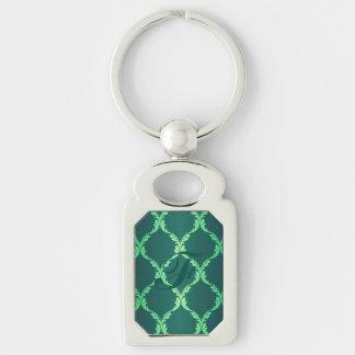 vintage green damask floral elegant chic pattern keychains