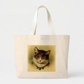 Vintage Green-Eyed Cat with Jingle Bells Jumbo Tote Bag