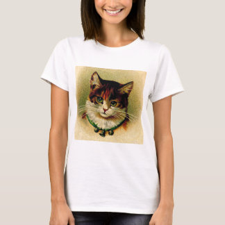 Vintage Green-Eyed Cat with Jingle Bells T-Shirt