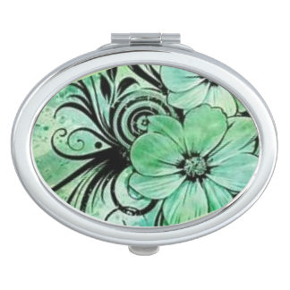 Vintage Green Floral Mirrors For Makeup