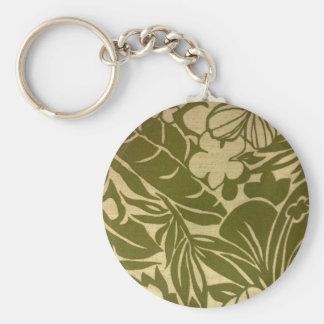 Vintage green floral print basic round button key ring