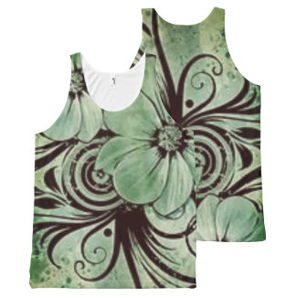 Vintage Green Floral with Swirls All-Over Print Tank Top