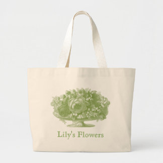 Vintage Green Flower Arrangement Large Tote Bag