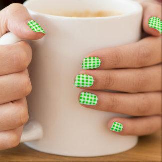 vintage green gingham plaid check fashion nails nail stickers