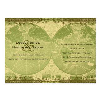 Vintage Green Gold World Map Wedding Invitation