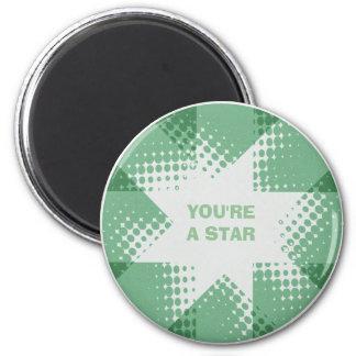 Vintage green halftone star magnet