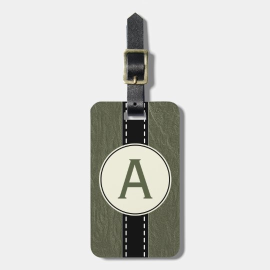 Vintage Green Monogram Luggage Suitcase Tag Gift