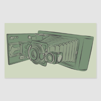 Vintage Green Old Photo Camera Stickers
