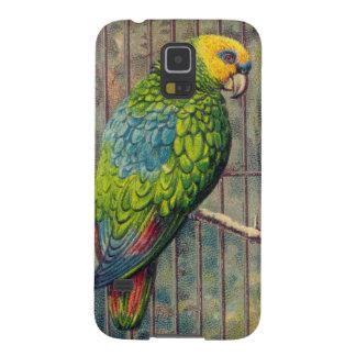 Vintage Green Parakeet Print Galaxy S5 Cover