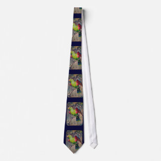 Vintage Green Parrot Print Tie