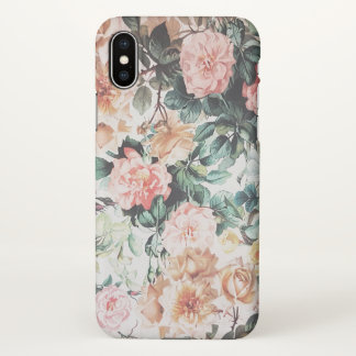Vintage green pink yellow watercolor roses floral. iPhone x case