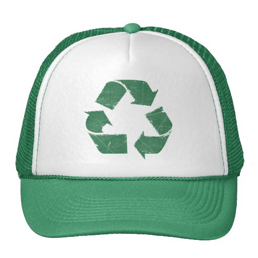Vintage Green Recycle Sign Hats