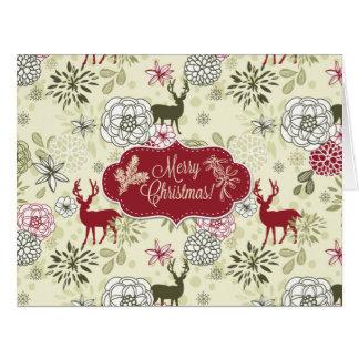 Vintage Green/Red Deer Holiday Big Greeting Card