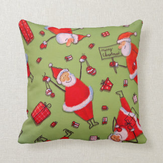 Vintage Green Red Merry Christmas Santa Claus Throw Cushions