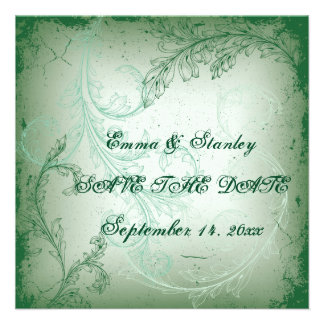 Vintage green scroll leaf Save the Date Invites