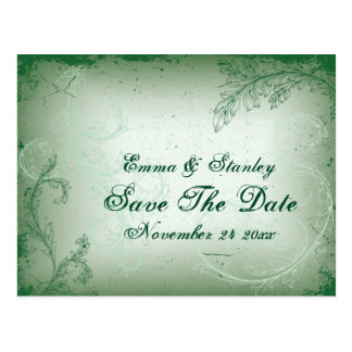 Vintage green scroll leaf Save the Date Postcard