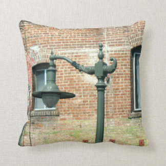 Vintage Green Street Lamp Throw Pillow
