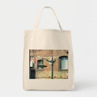 Vintage Green Street Lamp Grocery Tote Bag