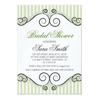 Vintage green stripes & black swirls bridal shower 13 cm x 18 cm invitation card